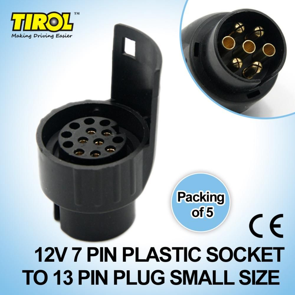 medium resolution of tirol 7 to 13 pin trailer plug black plastic trailer wiring connector 12v towbar towing plug n type t12926d yesterday s price us 15 50 13 66 eur