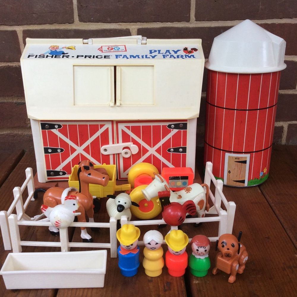 Vintage Fisher Price Little People Play Family Farm 915 Sears Brown Base Rare Vintage Fisher Price Play Family Fisher Price
