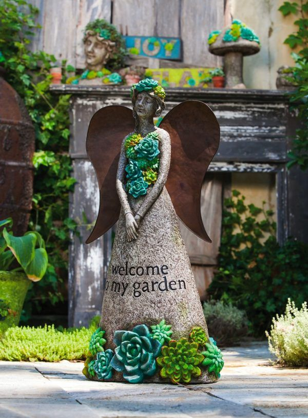 Perfect Succulent Angel Garden Statue: Angels Have A Place In Your Outdoor Space,  Too.