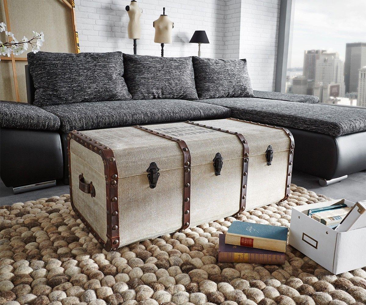 Schlafzimmer Truhe ~ Truhe egeas 90x47 beige vintage koffer design ledergriff für dich