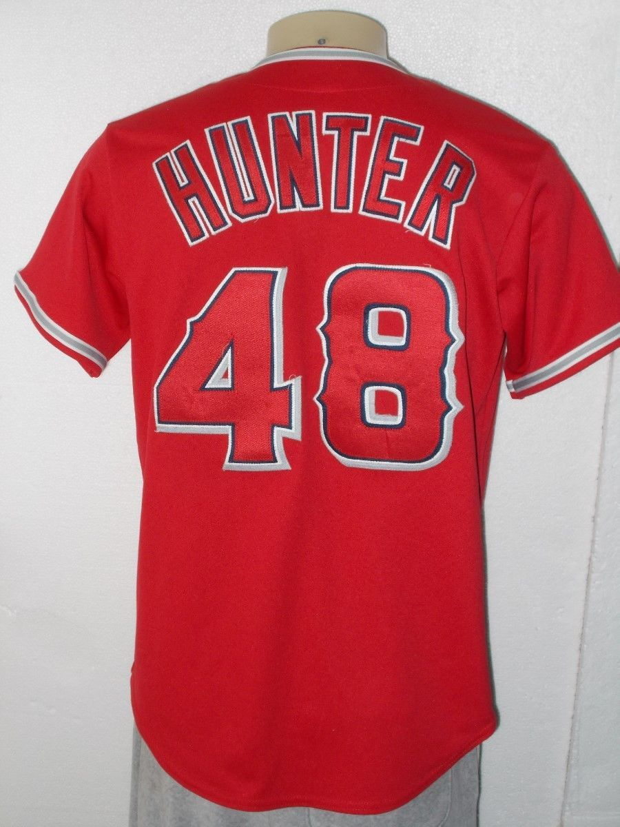 4e3e414dc4d MAJESTIC SEWN TORII HUNTER  48 ANAHEIM ANGELS RED MLB BASEBALL JERSEY MEN  MEDIUM