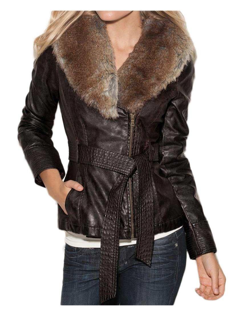 Womens Brown Faux Fur Collar Jacket Fur collar jacket