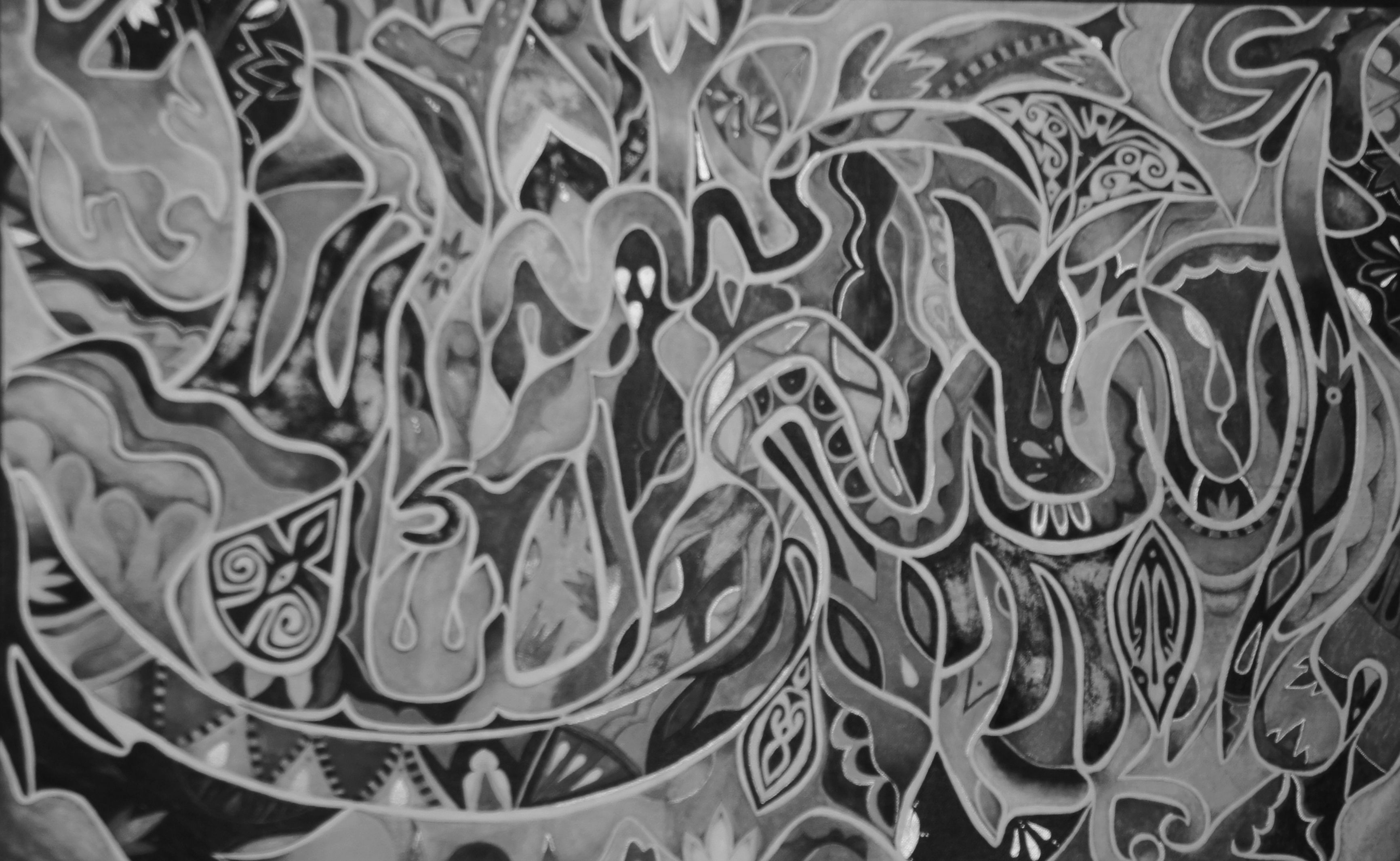24'' x 36'' Arabesque Abstraction. Within the piece is written the