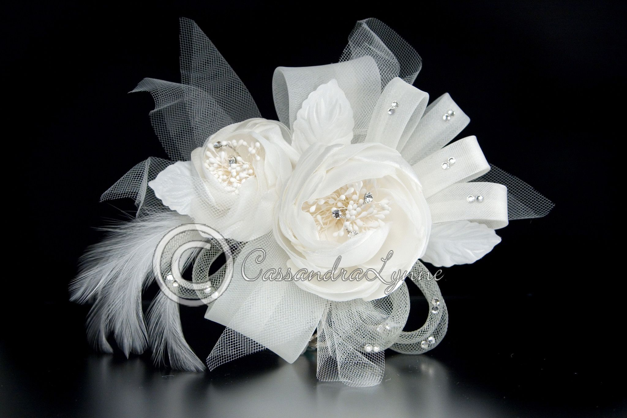Ivory Wedding Hair Flower Peonies and Ribbon with Feathers