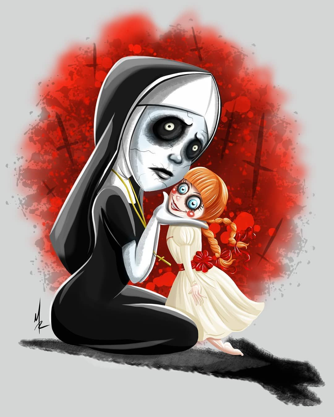 So Here S My Horror Nun With Her Friend Annabelle Let Me Know What You Think Scary Hallo Horror Cartoon Horror Characters Horror Movie Art