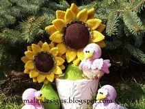 amigurumi Sonnenblume und Vögel, Häkelanleitung