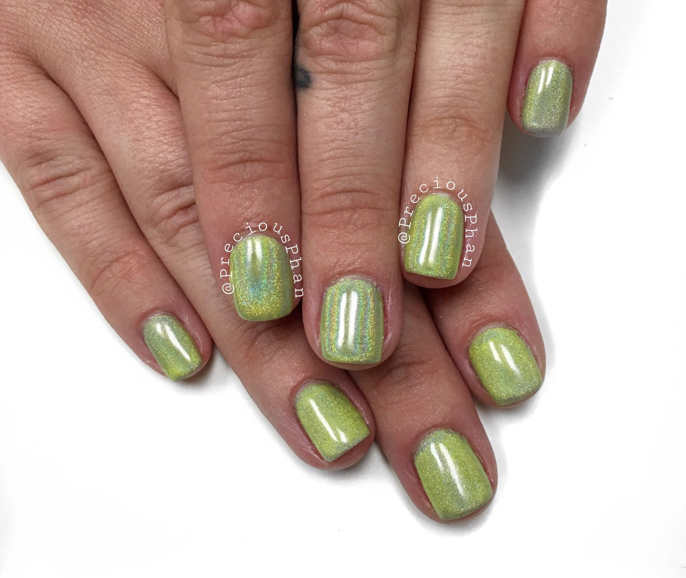 Holographic nails. Neon yellow nails. Chrome nails. #PreciousPhan ...