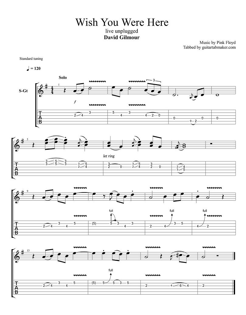 David Gilmour Wish You Were Here Solo Tab Pdf Guitar Tab Guitar Pro Tab Download Acoustic Guitar Guitar Tabs Guitar Chords For Songs Guitar Tabs Songs