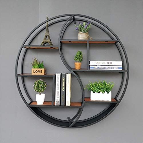 Best Seller Lil Round Wall-Mounted Shelves Wall Mount Retro Four-Tier Iron Shelf Floating Unit Frame Wall Decorative Shelves (Color : Black, Size : 686816cm) online - Topofferideas