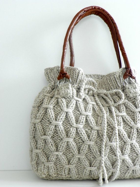 Hand Knitted Drawstring Bag With Leather Handles