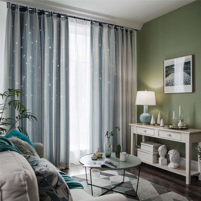 Nordic Simple Stripes Curtain Hollow Stars Jacquard Curtain Living Room Bedroom Fabric One Panel Curtains Living Room Living Room Bedroom Curtains #striped #curtains #living #room