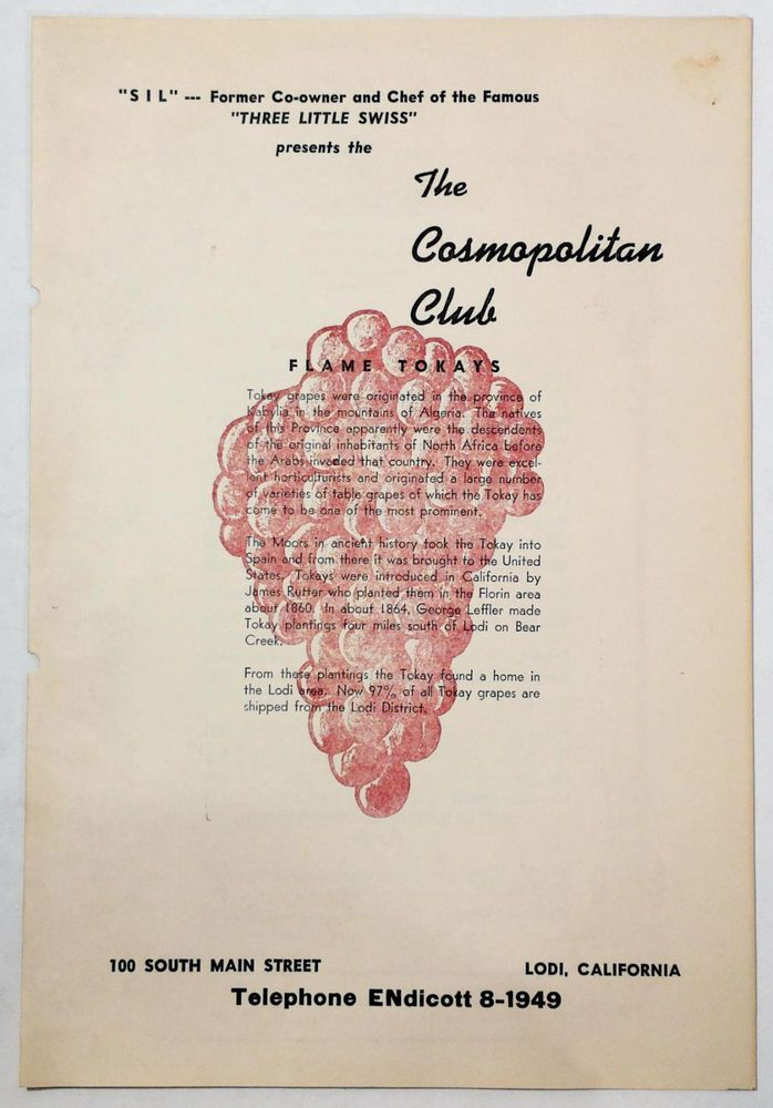 1950s Dinner Wine List Menu The Cosmopolitan Club Lodi Ca Flame Tokay Grapes Wine List Menu Wine List Cosmopolitan