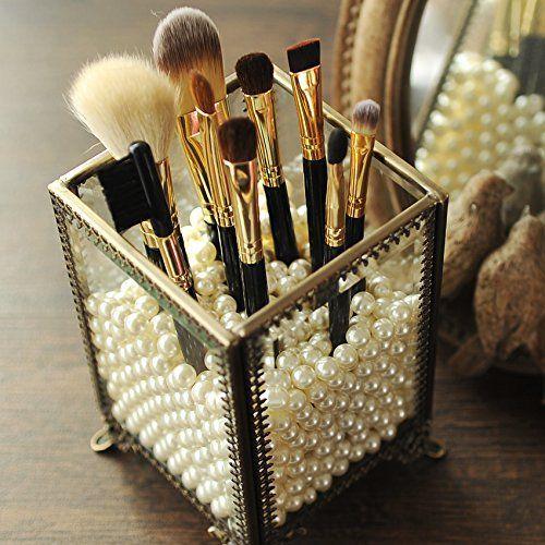 PuTwo klassischer Make-up Organisator mit weißen Perlen, im klassischen Stil, a…