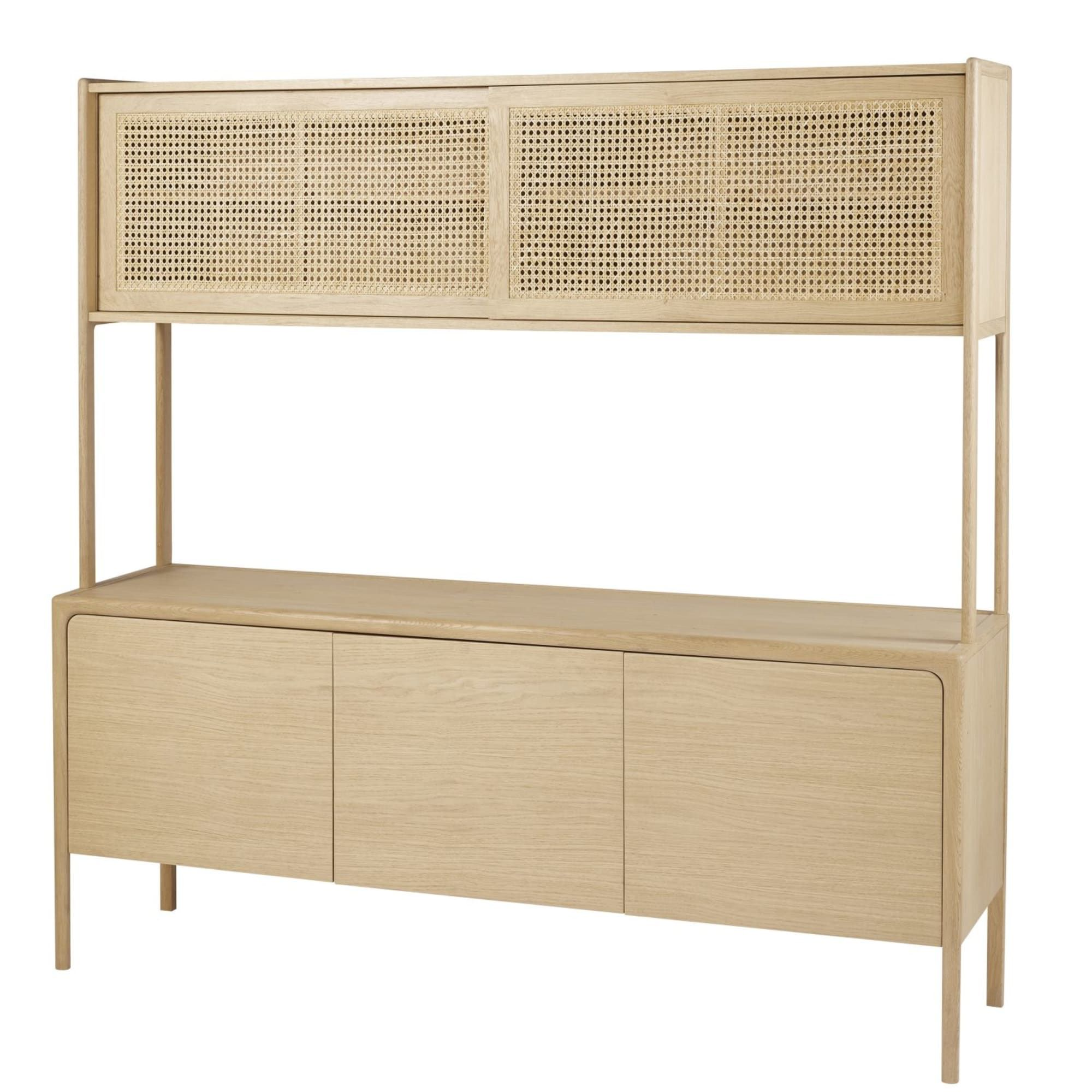 Solid Oak And Rattan Cane Double Sideboard Canopy Mobilier De Salon Mobilier Meuble Deco