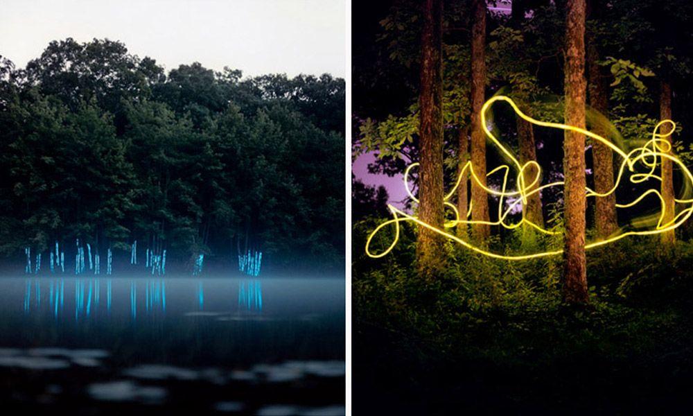 Barry Underwood fotografa misteriosas instalações de luz que ele implementa em florestas, montanhas, rios, etc.