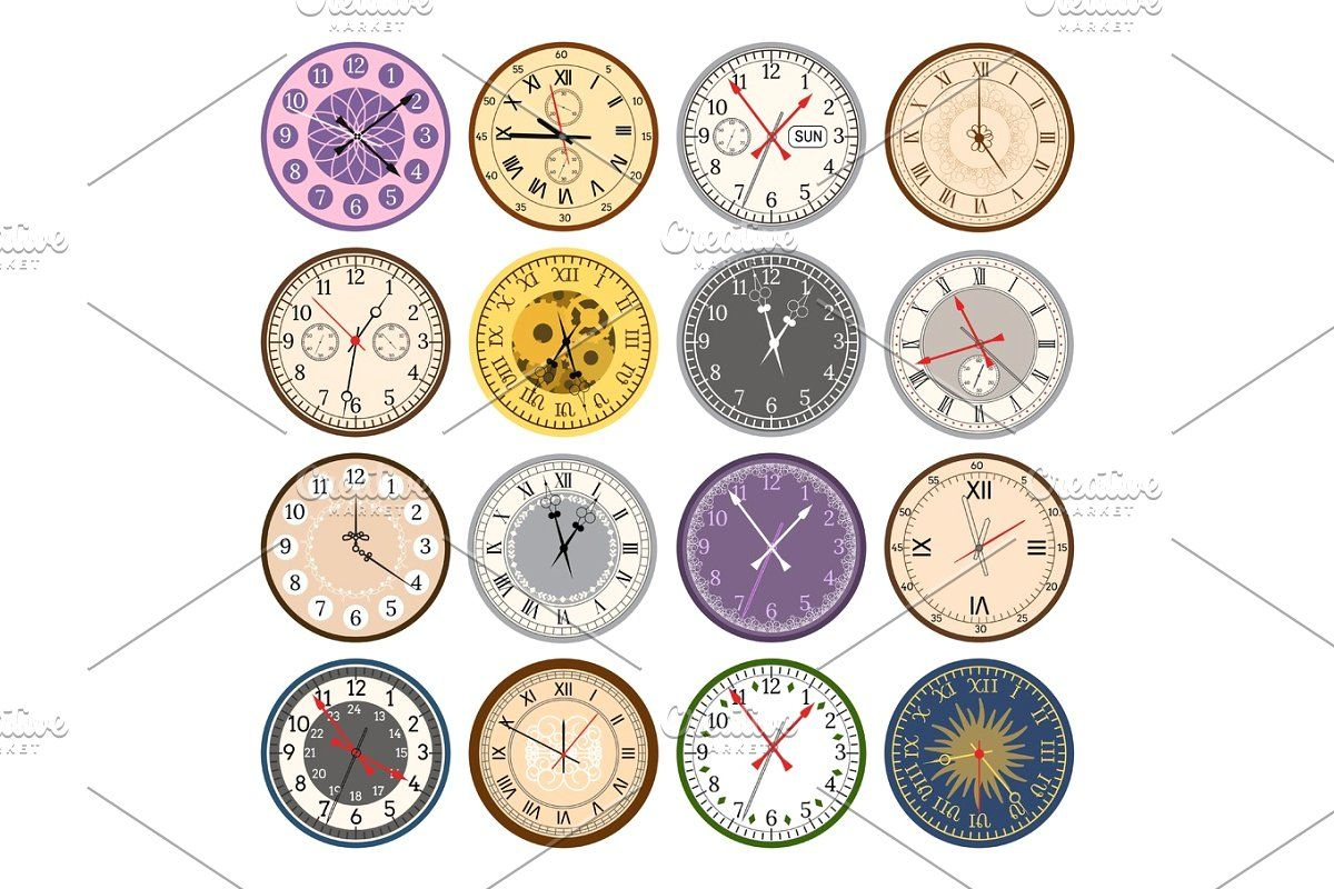 Colorful Clock Faces Vintage Modern Parts Index Dial Watch
