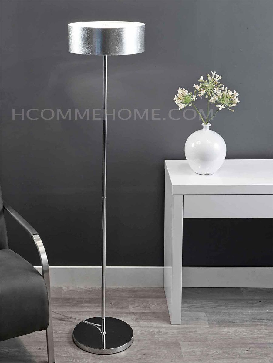 lampadaire design en chrome slide avec abat jour argent lampadaire halog ne hcommehome. Black Bedroom Furniture Sets. Home Design Ideas