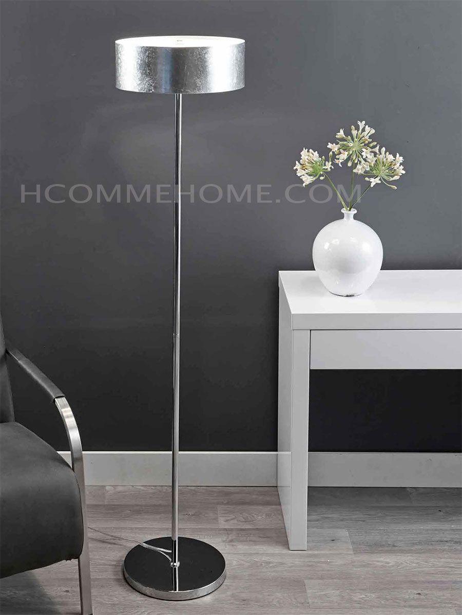 lampadaire design en chrome slide avec abat jour argent lampadaire halog ne hcommehome. Black Bedroom Furniture Sets. Home Design Ideas