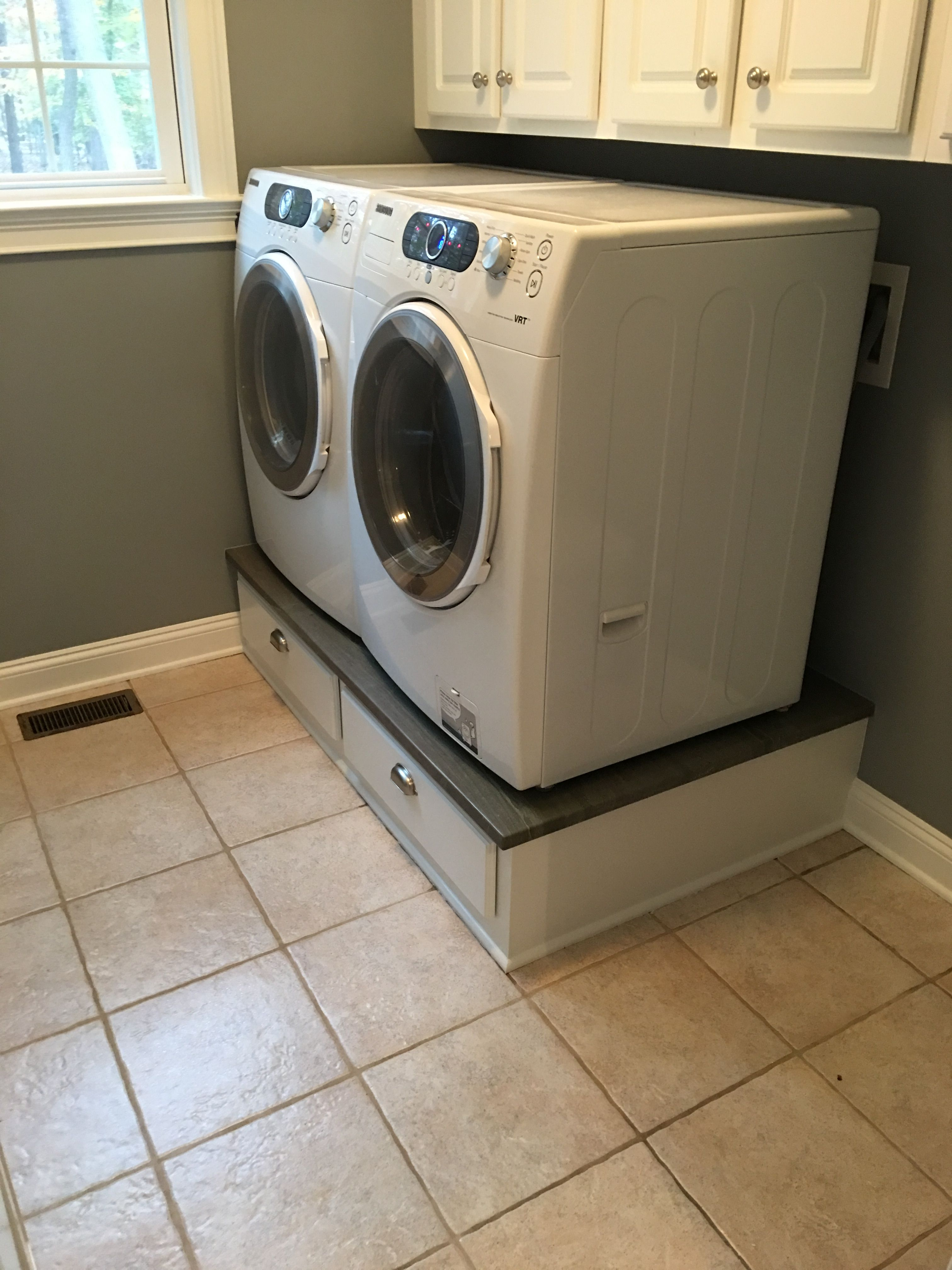 Laundry Pedestal Custom Built Washer Dryer Base Cabinet