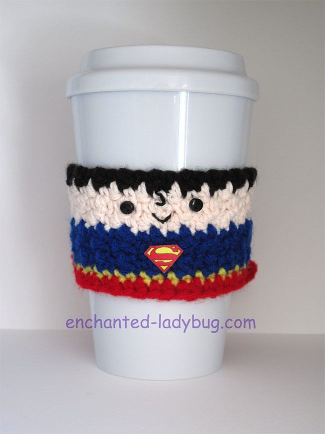 Superman Coffee Cup Cozy (s) Pattern | crochet bottle/cup cozy ...