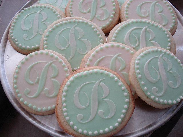 monogram wedding cookies - so pretty for a wedding shower