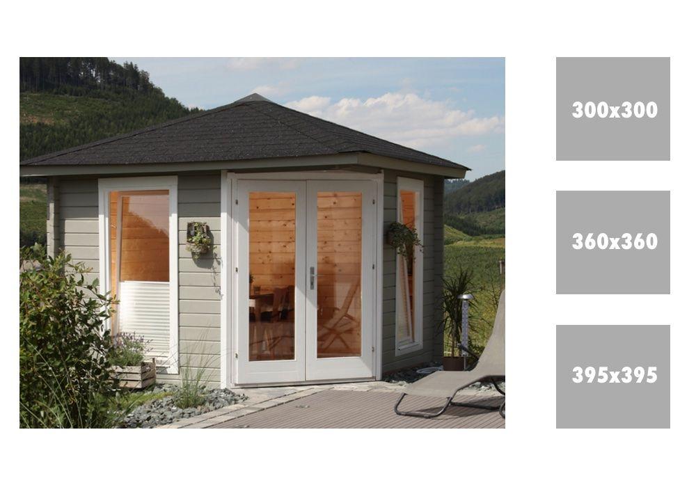 Doppeltür Holz 5 eck gartenhaus 300x300cm holzhaus bausatz 44mm doppeltür