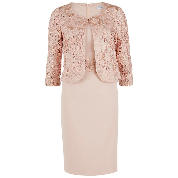 Buy Gina Bacconi Moss Crepe Dress With Guipure Lace Jacket, Apricot ...