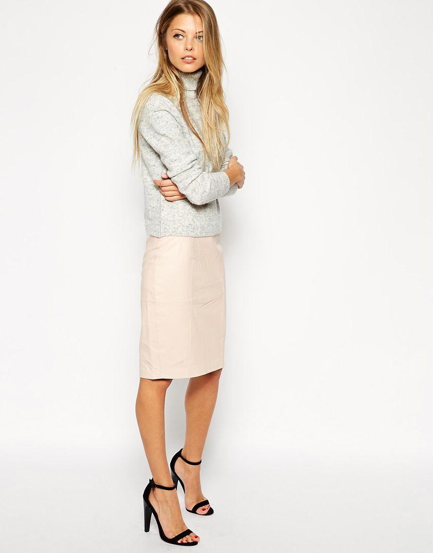 Blush Leather Pencil Skirt