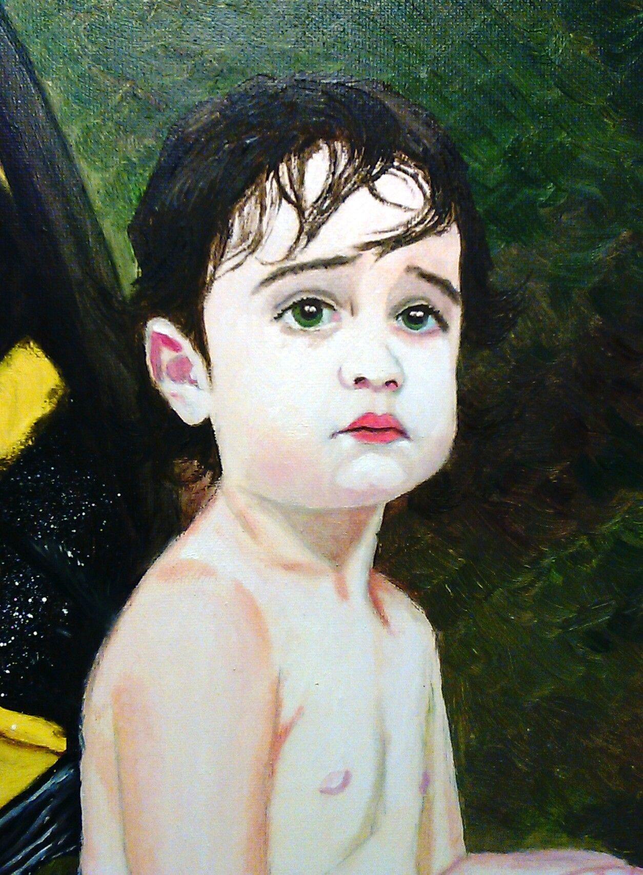 Detalle de Lucía de mariposa (óleo sobre lienzo 2011)
