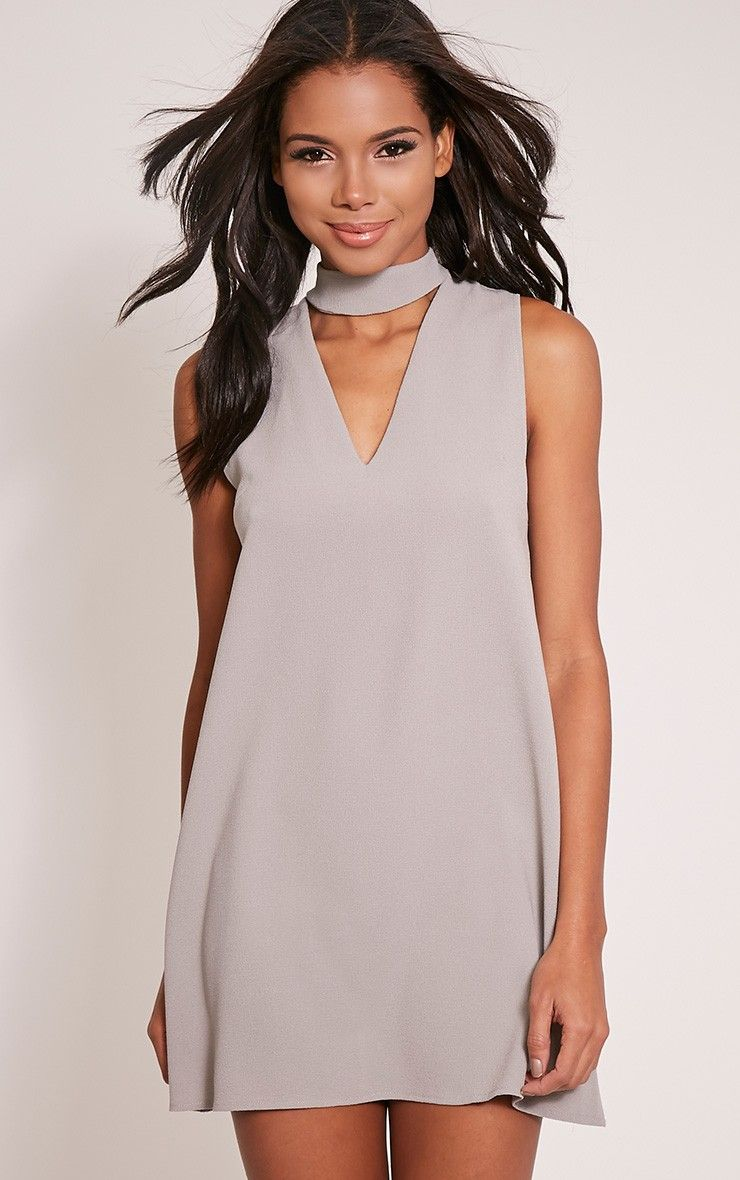 6dcaaf1d1c6b Cinder Grey Choker Detail Loose Fit Dress