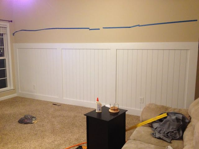Barn Door Wainscoting Wall Treatment Almost Finished