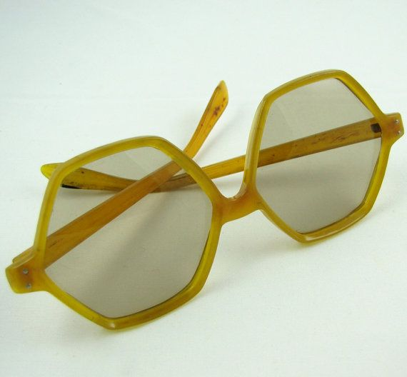 Shapely Shades - Vintage 70s Mustard Yellow Hexagon Sunglasses, Unusual  Shape, Fashionably Large