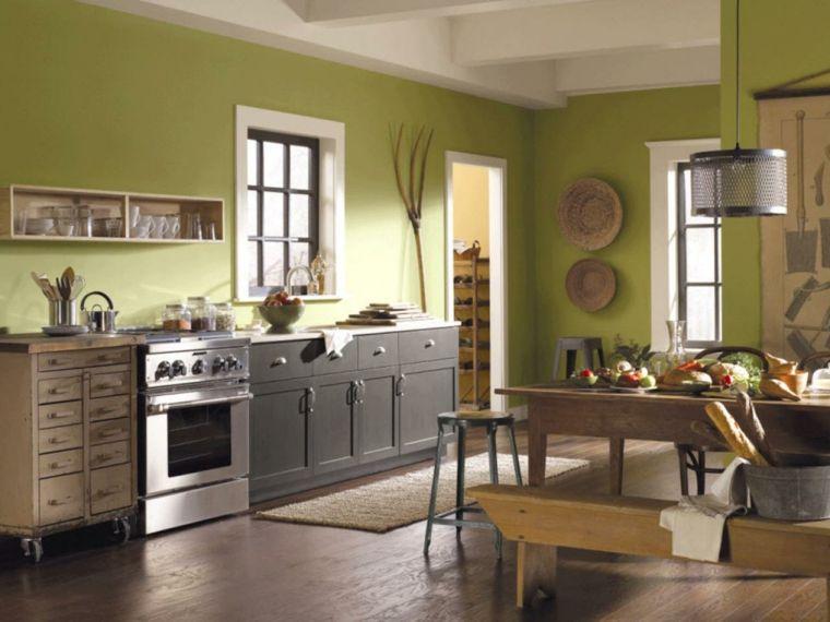 Cocinas pintadas con los colores de moda - 50 ideas | Cocina verde ...