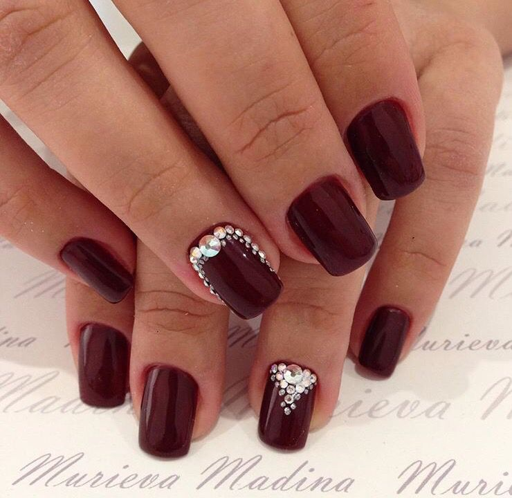 Christmas Nails On Black Hands: Dark Red Burgundy Nails With Swarovski Crystal Accents