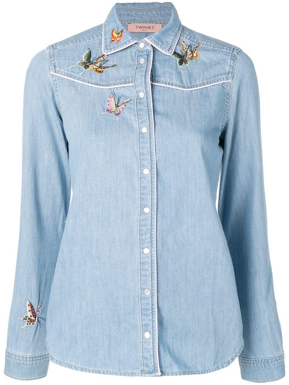 a0264f6e765 Twin-Set джинсовая рубашка с вышивкой