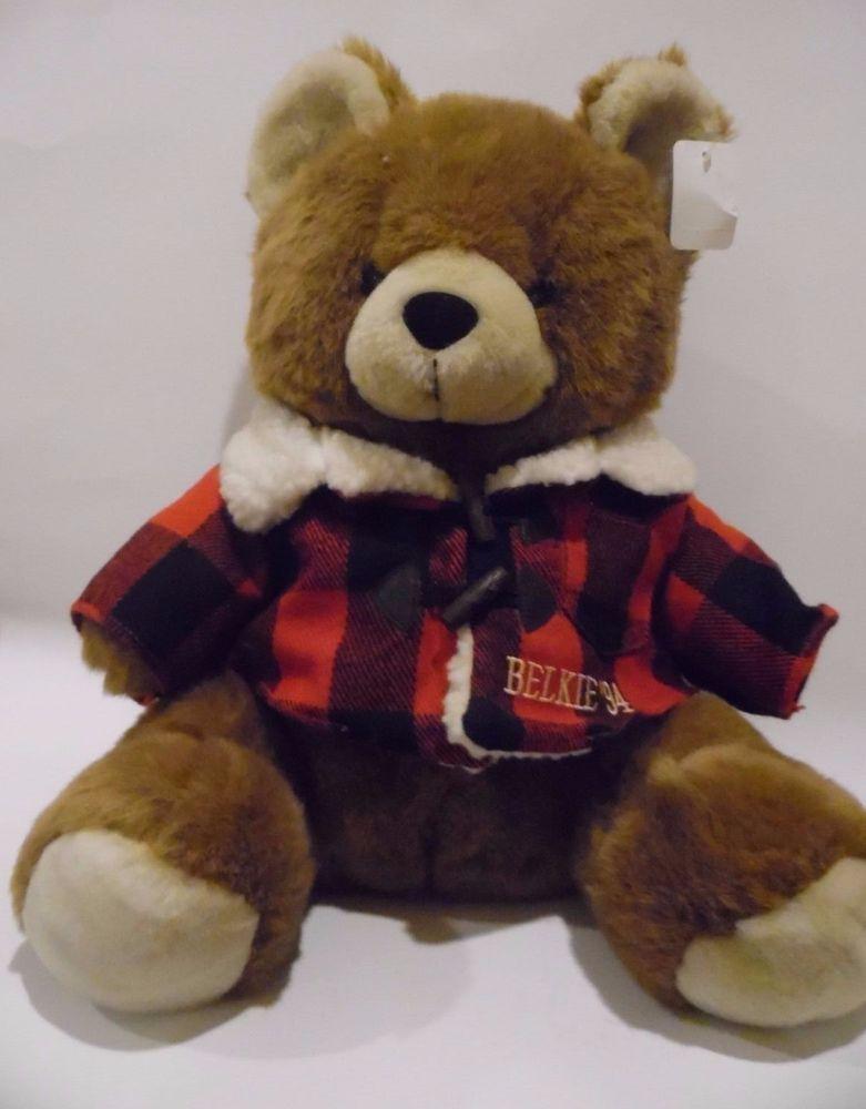belkie 1994 winter teddy bear plaid jacket 17 plush soft. Black Bedroom Furniture Sets. Home Design Ideas
