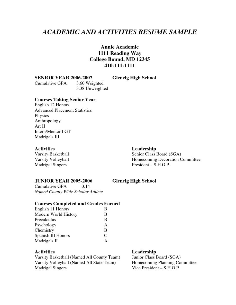 Academic Resume Sample Blank Resume Template For High School Students College Application