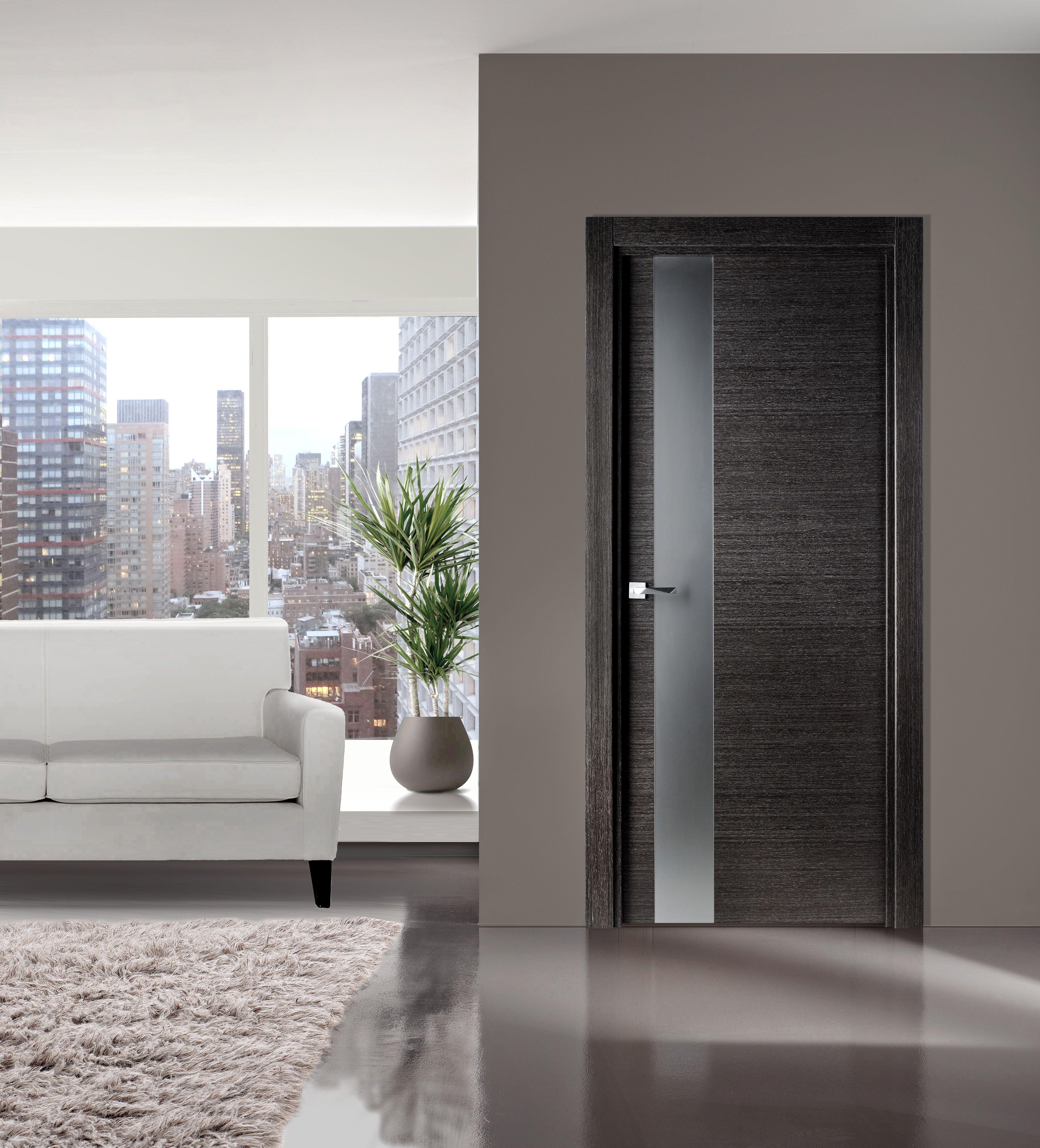 Flora 03 Modern Interior Door In Black Apricot Finish Doors