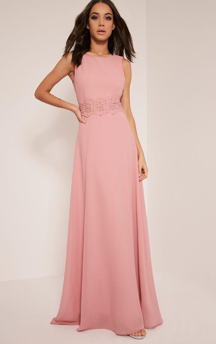 Caitlan Dusty Pink Lace Insert Maxi Dress  a9bab1668