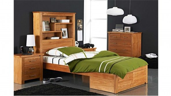 Cargo King Single Bed With Bookcase Bedhead - Kids Bedroom ...