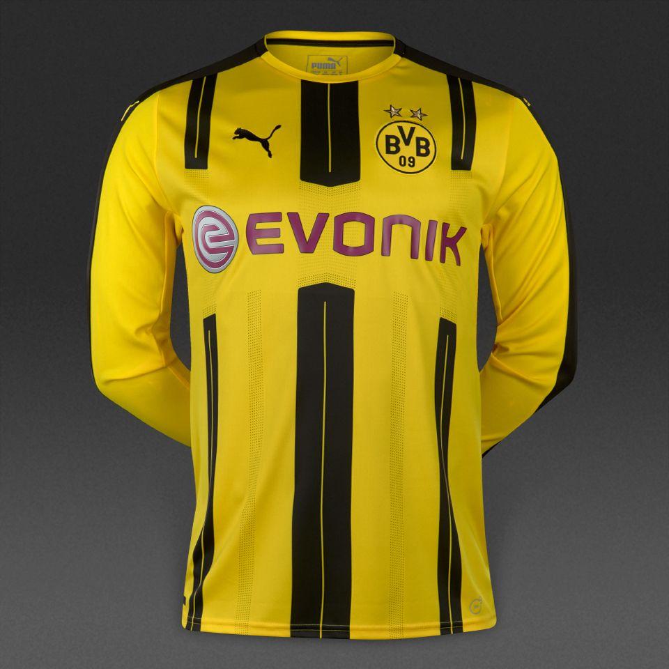 5aaa50bbc8590 Puma BVB Dortmund 16 17 Home LS Replica Shirt - Cyber Yellow Black ...