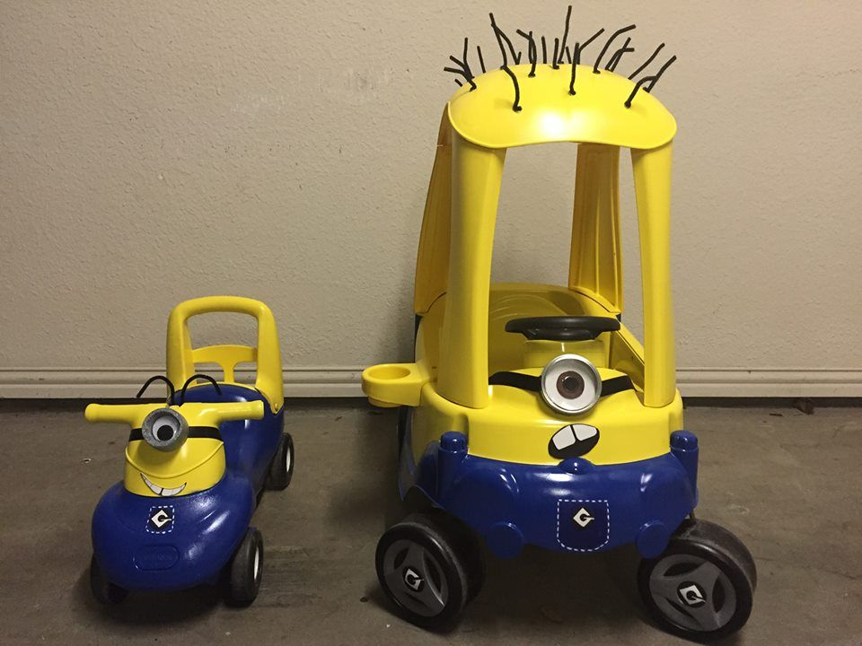 Minion Cozy Coupe And Push And Ride Conversion Spray Paint