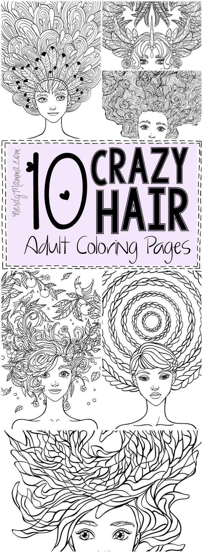 10 Crazy Hair Adult Coloring Pages | Best Crazy hair ideas