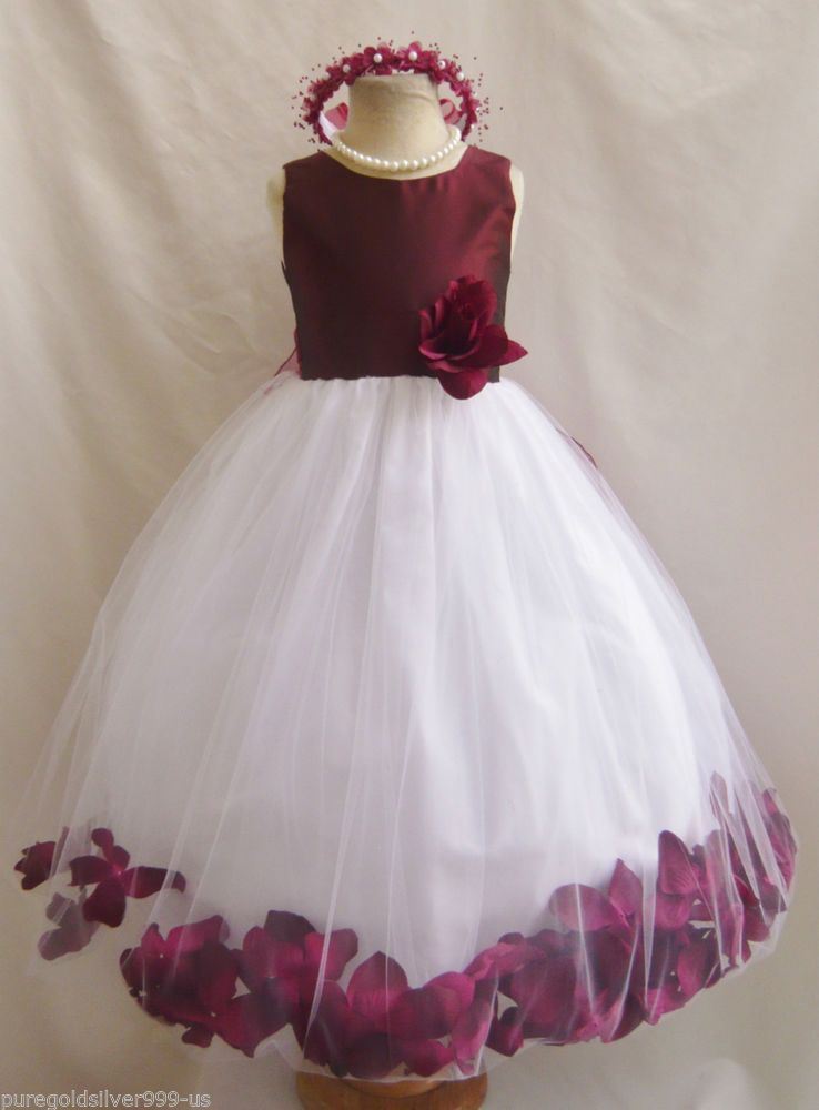 Burgundy wine christmas pageant party flower girl dress 18 for Wine colored wedding dresses