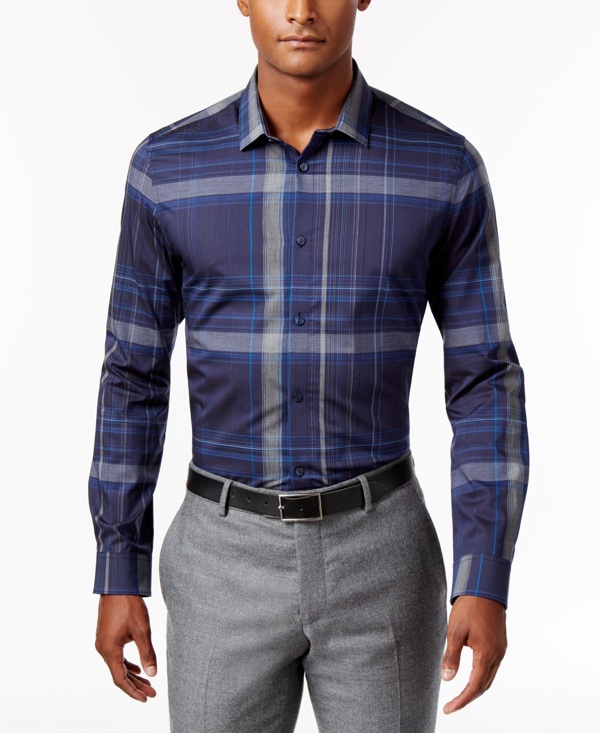 Calvin Klein Men's Diamond-Dobby Plaid Shirt