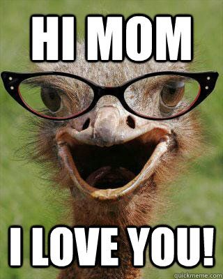 hi mom i love you judgmental bookseller ostrich quickmeme