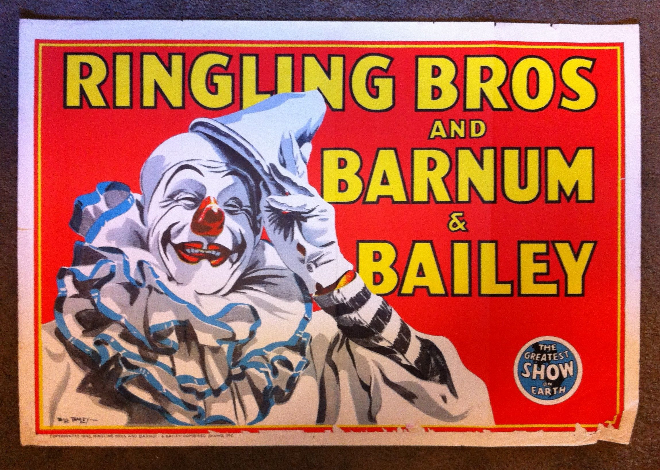 Ringling Brothers Circus The Children/'s Clown Vintage Travel Art Poster Print