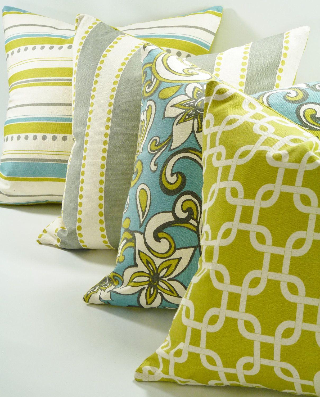 Living Room Decorative Pillow Cover Brook 18x18 Hidden Zipper Stripes Green Blue