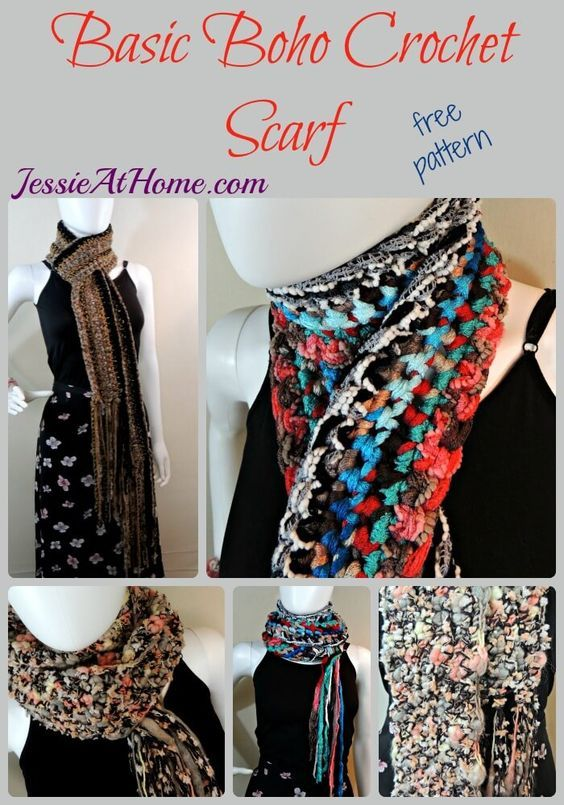 Basic Boho Crochet Scarf - free crochet pattern by Jessie At Home ...