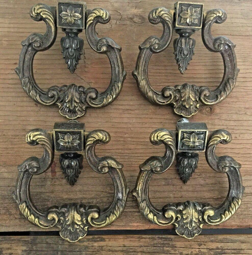 4 LARGE KEELER GOTHIC STYLE CABINET DOOR DRAWER HANDLES